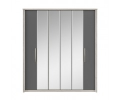 COSMOS 6 Door Centre Mirror Bi-fold Wardrobe